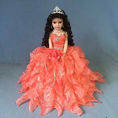 Porcelain Doll: Jmisa 18 Umbrella Porcelain Dolls Quince Anos Lilac Coral >>> Be sure to check out this awesome product. Porcelain Doll Makeup, Dolls And Daydreams, Zombie Dolls, Doll Games, Doll Divine, Coral, Dolls For Sale, Boy Doll, Quinceanera Dresses