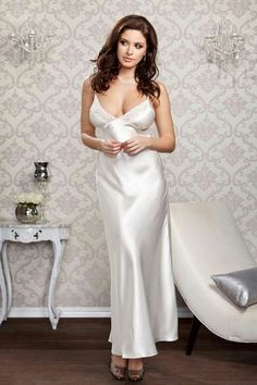 34f1b2a3f2c Long Lace Trimmed Satin Gown