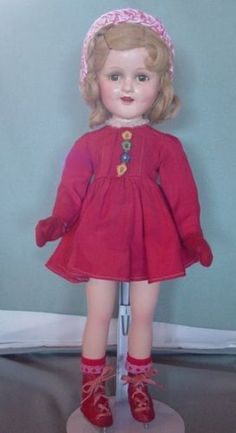 MADAME-ALEXANDER-USED-COMPOSITION-SONJA-HENIE-DOLL-IN-RARE-CANDY-RED-DRESS