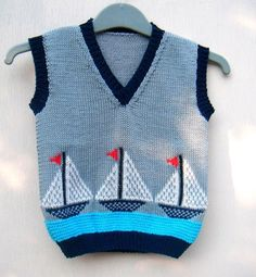 Sailboat Spencer Pullover Kids age Navy blue by PolClary Baby Boy Knitting, Knitting For Kids, Baby Knitting Patterns, Hand Knitting, Knitted Baby, Sweater Fashion, Boy Fashion, Cute Outfits For Kids, Baby Sweaters