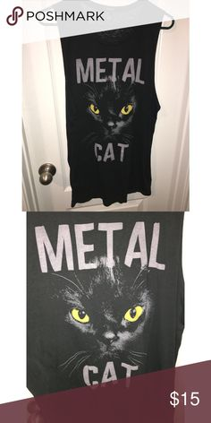 Black Cat Top Super long and comfy cat top. Worn a few times but still in good condition. Forever 21 Tops Muscle Tees