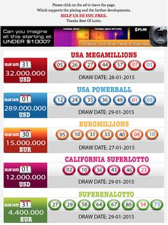 New Result available 2015.01.30 http://www.bestoflotto.com/lottery-results.html