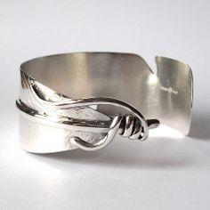 Bracelet B10005 - Sterling-silver-feather-cuff-bracelet