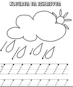 Voorbereidend schrijven: regen Aanvankelijk schrijven (klik voor de pdf)