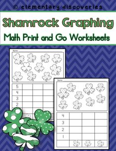Shamrock graphing activities are so much fun! These are great for math centers. Place inside a plastic page protector and use over and over again!