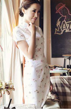 Short Sleeve White Linen Cheongsam,Chinese Dress
