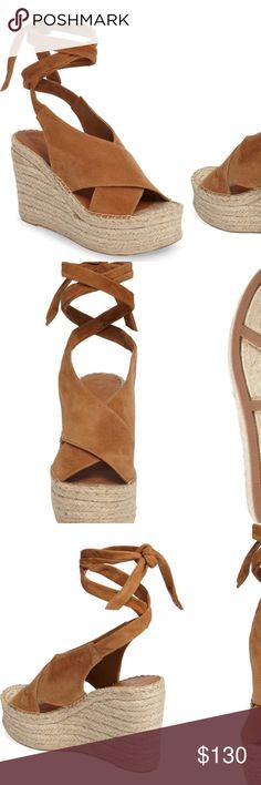 Marc Fisher LTD Andira Platform Wedge Sandals 6 Gently worn but great shape. Nothing wrong with them besides being worn a few times. Velvety suede panels cross at the foot and taper gracefully into wraparound ankle straps on a summery platform wedge with a dreamy romantic profile and an espadrille-inspired sole. Marc Fisher Shoes Wedges