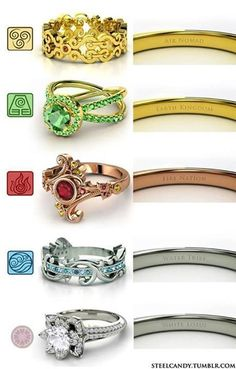 Rings for each element in Avatar: the last airbender (atla air fire water earth aang korra four elements greek metal elemental jewelry four nations fandom white lotus ootwl air nomad fire nation earth kingdom water tribe) THE GEEK IN ME Bijoux Harry Potter, Objet Harry Potter, Mode Harry Potter, Team Avatar, Avatar Aang, Mode Geek, 4 Elements, Avatar The Last Airbender Art, Air Bender
