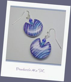 Lavender & Periwinkle Dangle Earrings polymer clay by BeadazzleMe