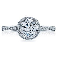 Tacori engagement ring from the Dantela Collection, a glittering and beautiful roung brilliant cut http://www.genesisdiamonds.net/tacori-2639rdp-engagement-ring.html