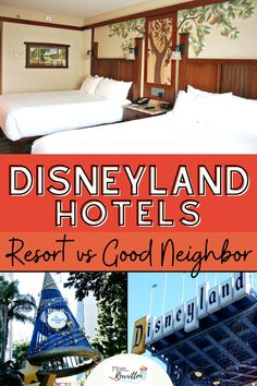 The Disneyland resort in California is reopening for guests! Get the details on which hotels are best for families including the differences between Disneyland Resort hotels and Good Neighbor hotels. Find out what perks are available, including amenities, locations, costs and where to get discounted hotel stays. Compare and see photos of Anaheim area hotels, pools, complimentary breakfast locations, where to get a suite and what hotels have kitchens. #Disneyland #DisneyTips #FamilyTravel #Hotels Disneyland Dining, Disneyland Restaurants, Disneyland Resort Hotel, Disneyland Vacations, Disney Resort Hotels, Disneyland Secrets, Hotels And Resorts, Disney Travel, Disney Trips
