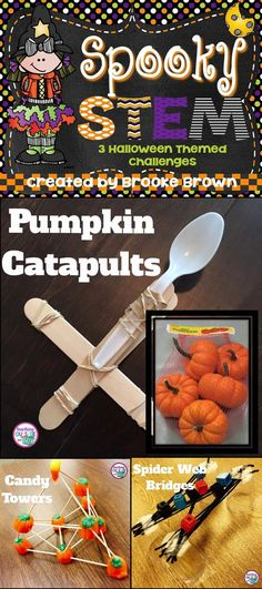 Engineer pumpkin catapults, candy corn towers, and spider web bridges! Three Halloween themed STEM challenges for elementary students are perfect to engage your kids in October!