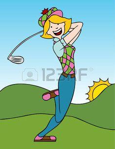 Cartoon of a woman swinging a golf club on the course. Ladies Golf Clubs, Best Golf Clubs, Girls Golf, Women Golf, Golf Clip Art, Golf Art, Golf Humor, Golf Ball Crafts, Golf Training Aids