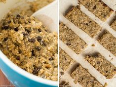 Banana Bread Protein Bars Recipe Lunch and Snacks with gluten-free rolled oats, raw buckwheat groats, chopped walnuts, unsweetened shredded dried coconut, chia seeds, dark chocolate chip, cinnamon, fine sea salt, bananas, creamy peanut butter, syrup, pure vanilla extract