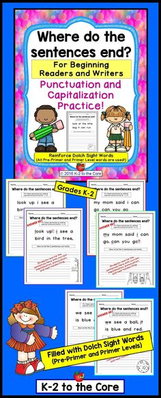 This packet is for beginning readers and writers. While working with sight words, your students will be practicing capitalization and punctuation. All Pre-Primer and Primer Dolch sight words are used, most three times or more. Each editing and writing pr