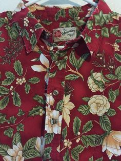 Hilo Hattie Hawaiian Shirt Christmas Poinsettia Pullover Mistletoe 2XL Plumeria #HiloHattie #Hawaiian