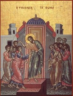 """Thomas and Jesus icon - often referred to as """"Doubting Thomas"""", the Greek inscription reads """"Η ψηλάφηση του Θωμά"""", that is, the """"Touching of Thomas"""", making no reference to Thomas' doubt. The scene is from John Religious Icons, Religious Art, Doubting Thomas, Holy Week, Holy Ghost, St Thomas, Jesus Christ, Touch, Painting"""