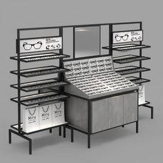Frame Display, Display Boxes, Display Case, Eyewear Shop, Glasses Frames, Eye Glasses, Iron Art, Base Cabinets, Stand Design