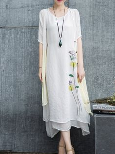 Shop Midi Dresses - White Printed Floral Two Piece Casual Midi Dress online. Discover unique designers fashion at StyleWe.com.