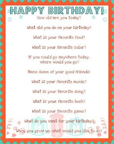 All About Me: Birthday Questionnaire!
