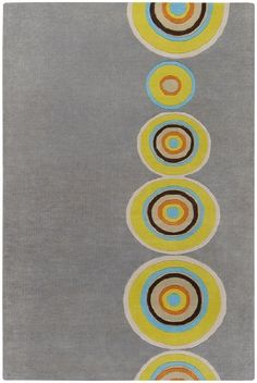 2 x 3 Colorful Bullseye Olive Oil and Gray Hand Tufted Wool Area Throw Rug ** Continue to the product at the image link.