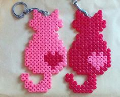 Couple of keychains. Cats in love. by sugargalaxystore – Buegelperlen – Hama Beads Perler Bead Designs, Hama Beads Design, Diy Perler Beads, Perler Bead Art, Pearler Beads, Fuse Beads, Melty Bead Patterns, Pearler Bead Patterns, Perler Patterns