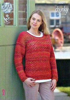 34fe77df6bf KNITTING PATTERN Ladies Long Sleeve Round Neck Jumper Chunky 4659 King Cole