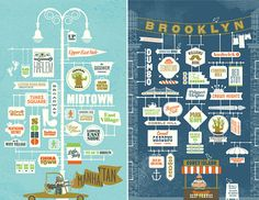 Vintage typography in this series of New York City posters by Jim Datz