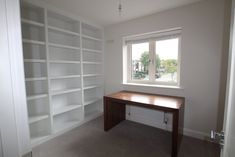 Home office fit out with Walnut desk and bookshelves Cabinetry, Bookcase, Furniture, Shelves, Walnut Desks, Home Office, Bookshelves, Home Decor, Wood Design