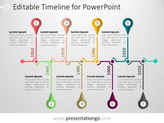 PowerPoint Free PowerPoint Timeline template. Fully editable graphics. Use this modern diagram in your presentation to display a list of events in chronological order. Some elements of the horizontal timeline are pre-grouped, so that you can easily change colors in one click, sizes or even remove/add some new group(s) to adjust the number of events you
