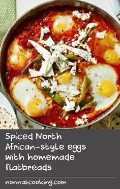 Spiced North African-style eggs with homemade flatbreads Protein Recipes, Meal Recipes, Healthy Breakfast Recipes, Fish Recipes, Mexican Food Recipes, Low Carb Recipes, Baking Recipes, Ethnic Recipes, Spicy Tomato Sauce