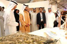 His Highness Sheikh Majid bin Mohammed bin Rashid Al Maktoum, Chairman of Dubai Culture & Arts Authority, with Emirati designer Khalid Shafar at the RAK Pearl booth. Dubai, Khalid, Culture, Gray, Exhibitions, Pearl, Collection, Design, Bead