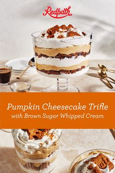 """This no-bake trifle substitutes cheesecake-style filling and cookies for the traditional sponge cake or ladyfingers and custard. We've loaded it with fall flavour, including pumpkin and warm spices, and a decadent whipped cream made with our Golden Yellow Sugar for an extra dollop of rich sweetness. It's more than just a """"trifle"""" delicious! Cheesecake Trifle, Pumpkin Cheesecake, Fall Recipes, Holiday Recipes, Sponge Cake, Saveur, Custard, Whipped Cream, Brown Sugar"""
