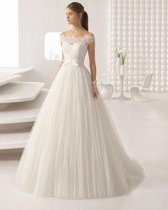 Rosa Clara - ALCANTARA | Wedding Dresses & Bridal Gowns - Jaehee Bridal Atelier    #aline #princess #offtheshoulder #illusion #sweetheart #lace #bow #bridal #weddingdress