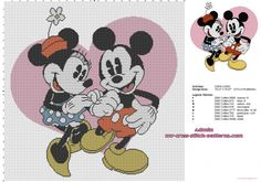 Disney Mickey Mouse and Minnie with pink heart cross stitch baby blanket idea