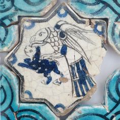 Turkish Seljuk Naturalistic Animal Design Tile From Konya Karatay Medrese(School). The Turkish Seljuk tiles now displayed at the Karatay Medrese in Konya originally decorated the walls of the century Kubadabad Palace on the shores of Lake Beyşehir. Turkish Tiles, Turkish Art, Tile Art, Mosaic Art, Ceramic Pottery, Pottery Art, Rivage, Artistic Tile, Antique Tiles