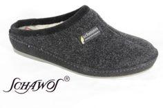 Schawos-Mens-Slipper-of-Felt-fabric-black-Virgin-wool-lining-NEW