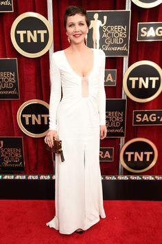 """The Boldest Red Carpet Looks From The SAG Awards #refinery29  http://www.refinery29.com/2015/01/81264/sag-awards-2015-red-carpet-pictures#slide-19  White dresses on the red carpet often look like wedding attire to us, but Maggie Gyllenhaal's long-sleeved Thakoon dress was elegant, slick, and casually cool in a way that didn't scream """"I do!"""""""