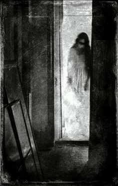 """hello darkness my old friend"" by this fleeting life""...more sillouhette inspiration...use clear contact paper and paint a similar apparition onto the sliding glass door!"