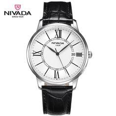 Nivada Top Luxury Brand Big Roman Scale Big Dial Business Style Leather Strap Quartz Men Watch Waterproof Wristwatch GQ8010 | Style Makerz