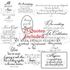 LOVE QUOTES digital word art for weddings, anniversaries, Valentines Day, cards, scrapbooking for instant download via Etsy