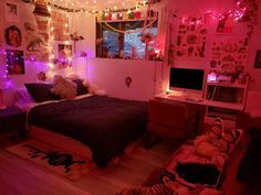 Neon Bedroom, Fancy Bedroom, Bedroom Setup, Room Ideas Bedroom, Bedroom Inspo, Chill Room, Cozy Room, Ideas Decorar Habitacion, Indie Room