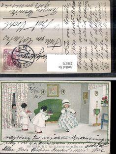 288673,Künstler AK Pauli Ebner Neujahr Mädchen Kleid Kinder Harlekin Geschenk pu | eBay