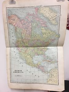 1894 Cram's Universal Atlas North America & East Hemisphere & CA Print