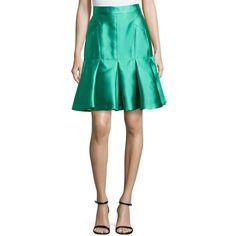 J. Mendel Pleated Scuba Trumpet Skirt ($364) ❤ liked on Polyvore featuring skirts, soleil, flare skirt, long pleated skirt, flared skirt, shiny skirt and pleated skirt