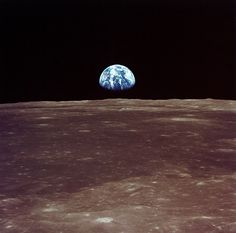 Earthrise viewed from lunar orbit of Apollo 11 prior to landing July 20, 1969