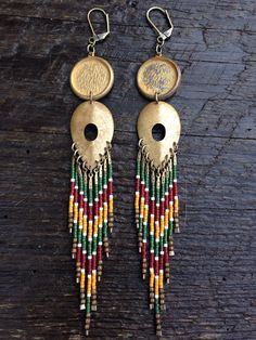 Pusya... Brass and seed bead earrings by DancingWillowDesign