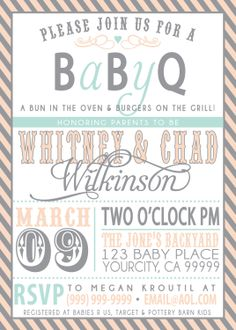 COUPLES bbq BABY SHOWER invitation. $18.00, via Etsy.