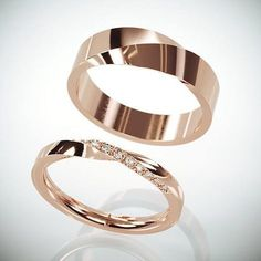 14k Rose Gold Mubius Rings Set Las Ring With Diamonds His And Hers Mobius Wedding Bands