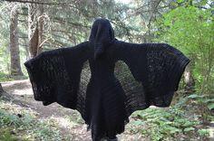 Hooded cloaks by Bat's Woodland Wares. Made to order… Crochet Cape Pattern, Crochet Bat, Crochet Hood, Crochet Shirt, Crochet Motif, Crochet Crafts, Crochet Projects, Free Crochet, Crochet Vests